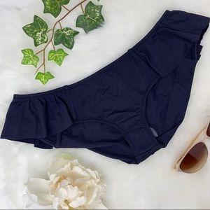 NWT EBERJEY Solid Petal ruffle bikini bottom navy